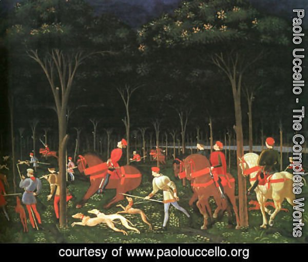 Paolo Uccello - The Hunt in the Forest (right half) 1460s