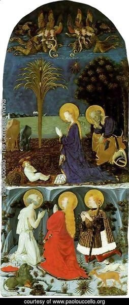 Paolo Uccello - Adoration of the Child with Saint Jerome, Saint Mary Magdalene and Saint Eustache