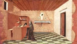 Paolo Uccello - A woman sells the communion wafer to a Jewish buyer for a coat