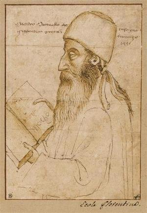 Paolo Uccello - Portrait of Manuel Chrysoloras wearing a hat and holding a book