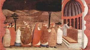 Paolo Uccello - Procession of re-ordained in a church